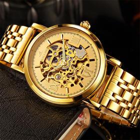 【买一送六】梭伦男机械钢带双面镂空防水手表