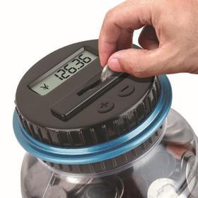 【为思礼】计数水桶存钱罐 储蓄罐 智能透明硬币理财罐  黑盖蓝边款