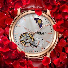 梭伦机械女表镂空手表