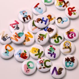 字母扣子卡通木扣子儿童服饰装饰扣子彩绘圆形木扣子diy手工辅料
