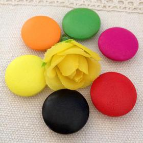 DIY手工辅料 彩色彩绘蘑菇木扣子 原木纽扣8色 蘑菇扣纽扣红鼻子