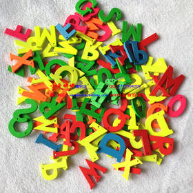 300#木制彩色26字母儿童教育用品手工DIY木头字母装饰物挂件字母