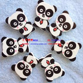 木制卡通熊猫纽扣木扣子服装辅料熊猫长扣子木扣纽扣服装辅料手工