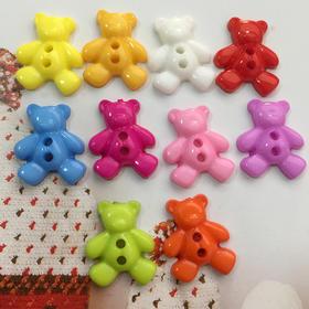 小熊树脂纽扣宝宝卡通造型扣儿童塑料纽扣彩色扣1元4颗儿童卡通扣