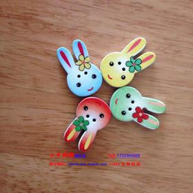 兔子扣子 卡通兔子扣子纽扣 儿童扣子 绒绒线兔子马甲扣子彩兔扣
