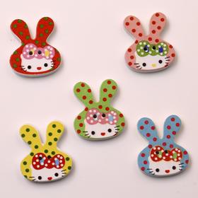 彩色卡通兔子扣子 彩绘木扣子 儿童卡通木纽扣 服装辅料装饰扣子