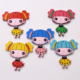木制彩绘小女孩挂件 单孔 卡通女孩装饰挂件 儿童服饰装饰配件