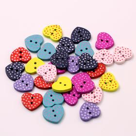 彩色彩绘木扣子桃心形原木纽扣 服装辅料扣子儿童纽扣扣子