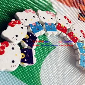 kitty猫木质卡通纽扣扣子木扣子 绒绒线kitty猫卡通动物扣子纽扣