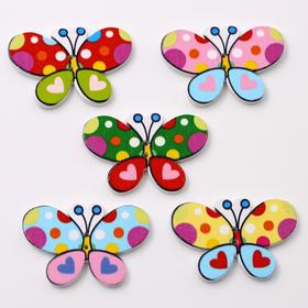 彩色蝴蝶扣子 卡通木扣子 儿童蝴蝶卡通扣子 儿童服装服饰装饰扣