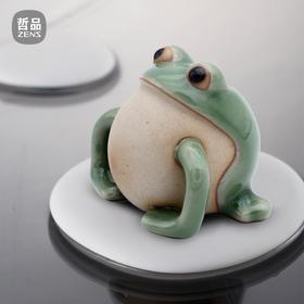 哲品 阿呆茶宠精品茶具摆件 陶瓷青蛙粉青汝窑变色 复古中式包邮