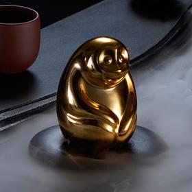 哲品陶瓷阿憨茶宠茶玩精品茶具摆件复古十二生肖电镀金猴子内白瓷