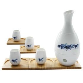哲品 暖酒壶烫酒具套装陶瓷 乐醒青花白瓷中式 家用白黄酒分酒器