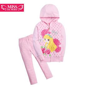 女童玫瑰印花休闲套装2016春装新款儿童套装