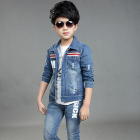 童装韩版男童春款两件套 中大童休闲运动牛仔套装【可飞儿】