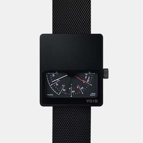 VOID 留白大方块设计骚表|红白指针钢表 黑色(瑞典)