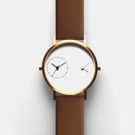 Kitmen Keung 跨越距离的爱双时区腕表|褐皮白底 2 款(香港)