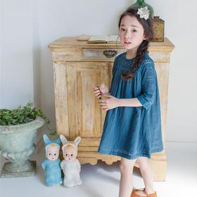 童装春夏韩版女童蕾丝钩花拼接裙子儿童五分袖亲子装连衣裙【可飞儿】