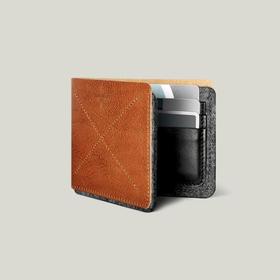 Hardgraft 牛皮羊毡拼接两折 6 卡位钱包|褐色(英国)