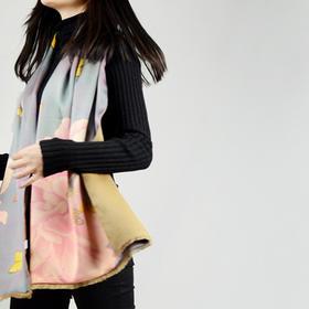 蝶舞 原创油画艺术设计 羊毛拼接真丝拉毛双层丝巾围巾披肩 复古花
