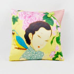 问花解语家居系列 原创艺术设计 手工 真丝拼接盘扣 抱枕 靠垫