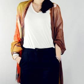 川朴Champur 原创艺术设计 复古 古典 真丝 丝巾 长巾 围巾 披肩