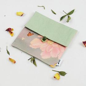 原创艺术设计 亚麻真丝拼接 花卉复古小清新森系 零钱收纳化妆包