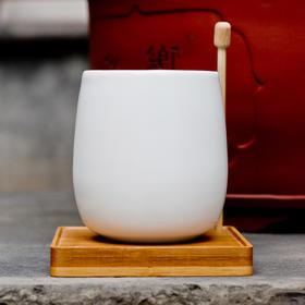 A好风光原创设计 文化创意园林 亚光白瓷竹垫杯 日式禅意礼品