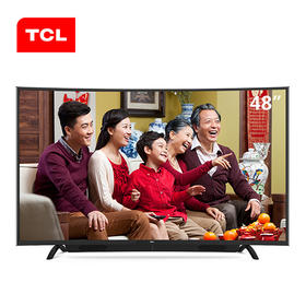 TCL 48英寸 双系统+瀑布式音响 高色域安卓智能曲面电视  L48P1S-CF