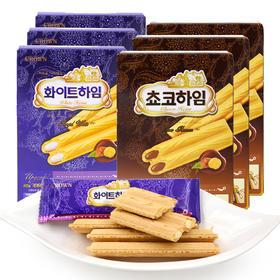 韩国进口 Crown可瑞安榛子奶油/巧克力味 可瑞安威化蛋卷饼干 47g