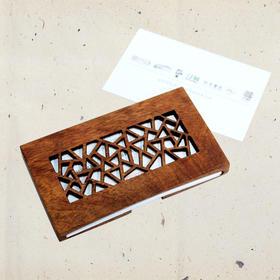 苏州好风光 苏式花窗名片夹 花梨木镂雕名片盒 木艺礼品工艺品