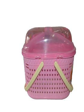粉色透明宠物外带篮
