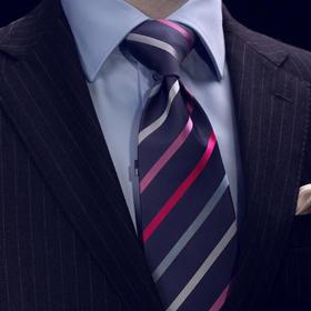 仕族Eabri真丝正装商务领带 男士结婚礼盒领带 斜条纹团体领带