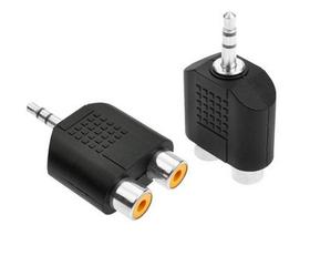 3.5mm转一分二2RCA双莲花AV音频线转接头电脑音响电视接口插头
