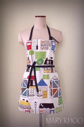 MARY KHOO 两面穿现代手绘乐活风修身摩登款手工限量围裙礼物