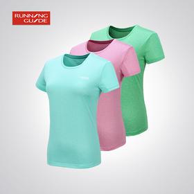 跑步指南女款运动段染宽松短袖速干T恤P3602