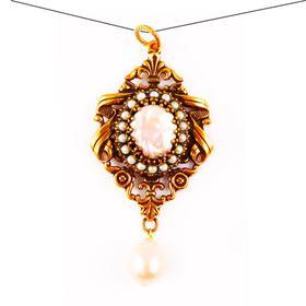【贝拉】巴洛克风格天然珍珠母 黄铜镀金18K金 宫廷风镂空雕刻 吊坠 巴洛克淡水珍珠
