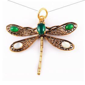 【贝拉】VINTAGE 18K铜镀金 宝石镶嵌天然淡水珍珠 灵巧春季可爱 蜻蜓吊坠