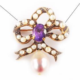【贝拉】VINTAGE 18K铜镀金 多彩宝石镶嵌天然淡水珍珠 手工制作 小蝴蝶结胸针