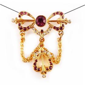 【贝拉】18K铜镀金 多彩宝石镶嵌天然淡水珍珠 手工精致 胸针