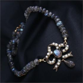【贝拉】意大利天然玛瑙石 配以精致蝴蝶造型项链 高贵精品收藏 仅此一枚
