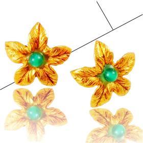 【贝拉】设计灵感-怒放的花朵   手工锻造铜镀金耳环