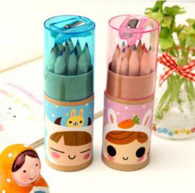 日韩文具 可爱星座女孩 12色小铅笔绘画笔 涂色笔 彩色铅笔2B