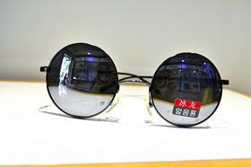 冰龙 男款 金属偏光太阳镜 小圆镜 反光细框
