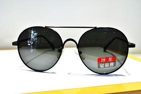 冰龙 男款 金属偏光太阳镜 小圆镜 深黑细框
