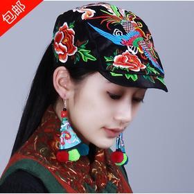中国风民族风复古绣花帽