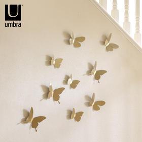 umbra创意金属蝴蝶花朵墙面装饰品 可移除立体墙贴 卧室电视墙饰品