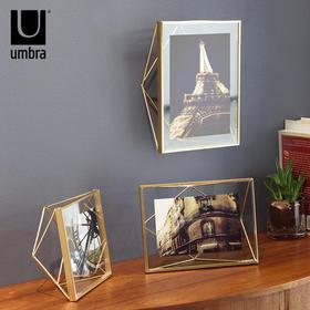 umbra创意立体棱形相框 土豪金欧式玻璃画框金属摆台不规则相架