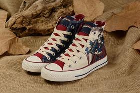 新标 蓝 米 灰红高帮男女款超人帆布鞋