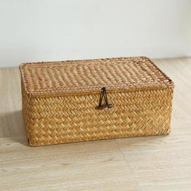 草编带盖收纳盒